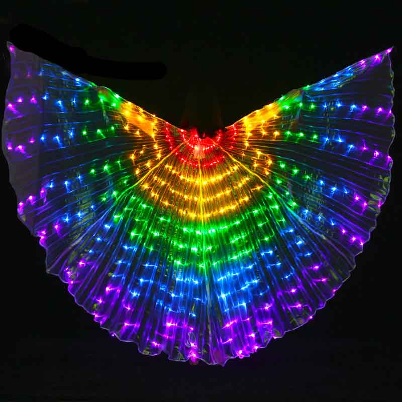 Hot sale women belly dance lamp props open 360 degrees LED Shining wings girls wings angle of opening dancer props wings stick