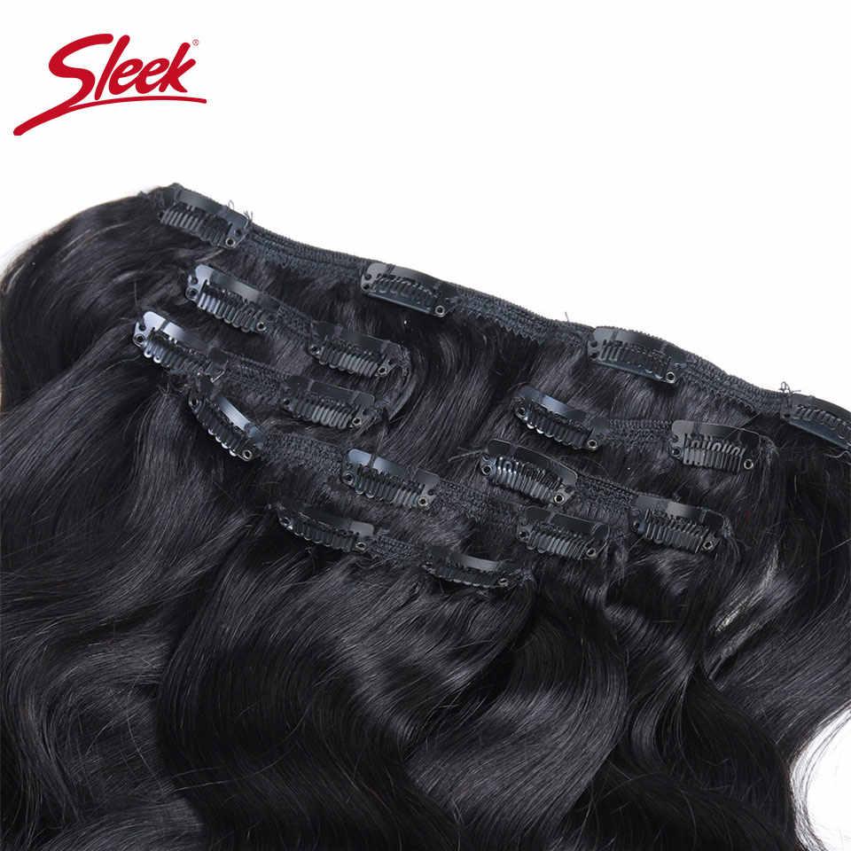 Kiểu dáng đẹp Tóc 7 Chiếc Kẹp Trong Con Người làm Tóc Brasil Sóng Thân Tự Nhiên Màu Tóc Nguyên Đầu Bộ Remy Tóc nối dài