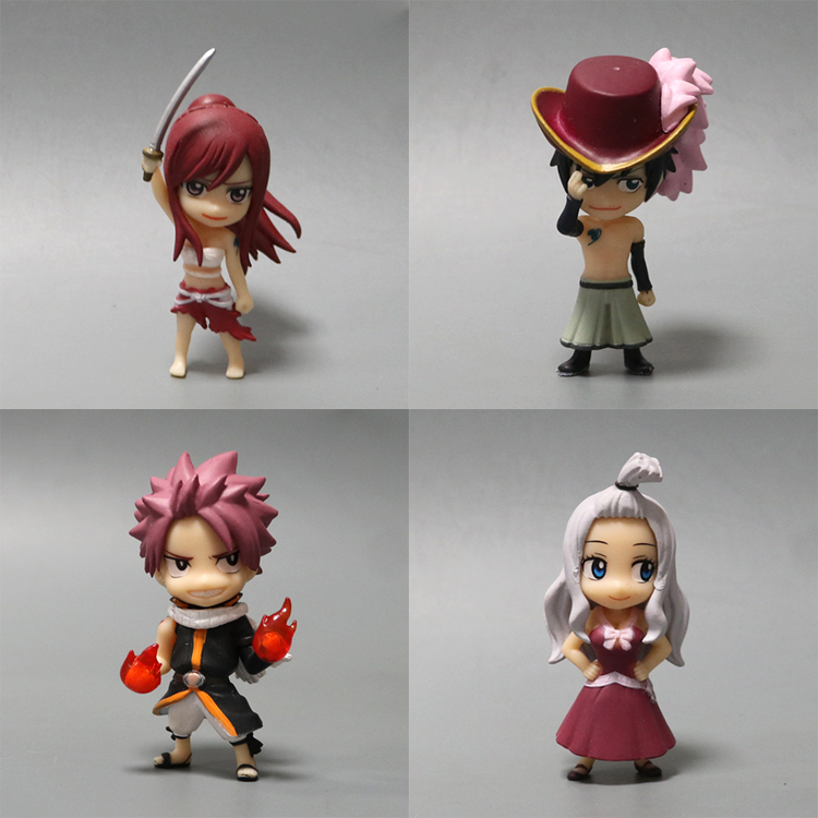 6 cm Anime Fairy Tail PVC Figure Modello Natsu/Grigio/Lucy/Erza Al Dettaglio