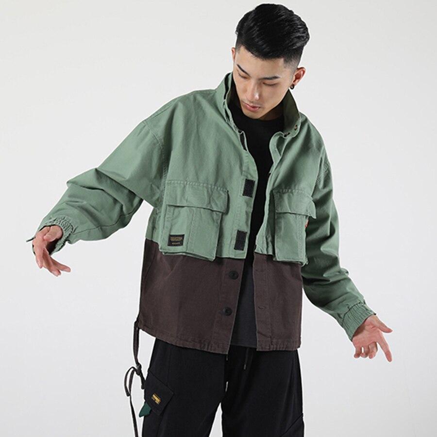 Hommes vestes japonais Vintage couleur bloc Patchwork armée vert veste Streetwear Hip Hop Bomber vestes mode automne 50JK061