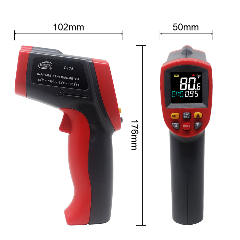 Image 5 - IR Infrared Thermometer Pyrometer 9 Laser Point Digital Non 