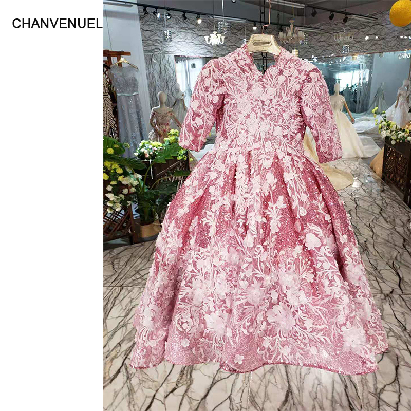 LSS128t color   flower     girls     dresses   v-neck long sleeve parent-child   dress   floor length   girls   pageant   dresses   holy communion   dress