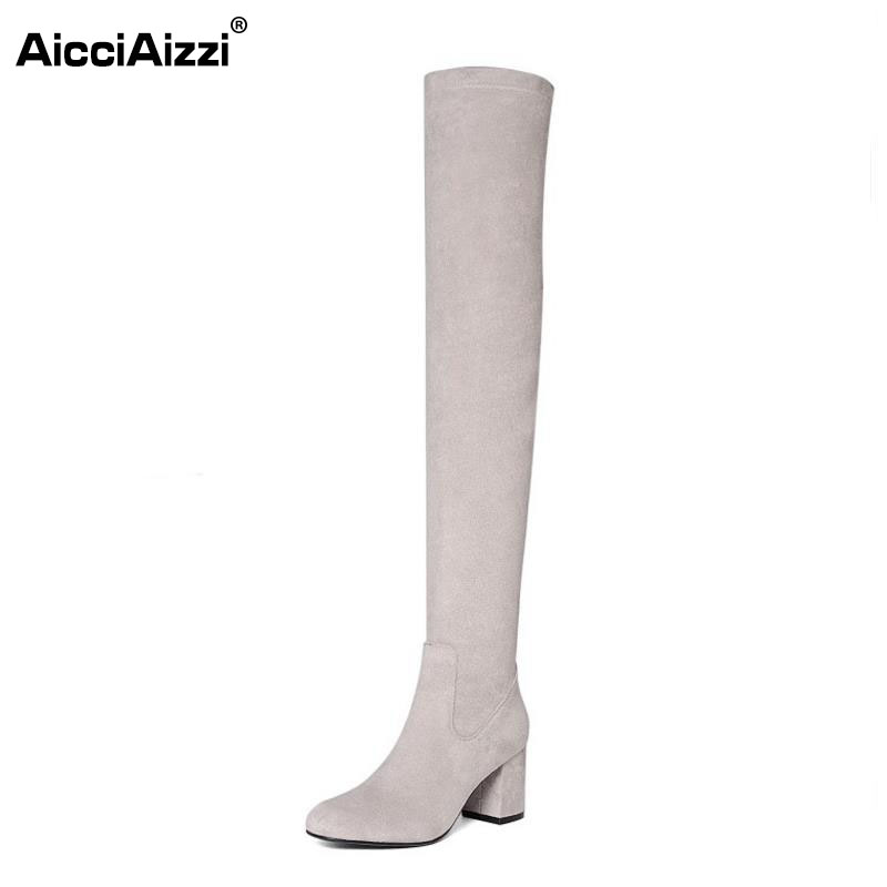 AicciAizzi Women Genuine Leather Over Knee Boots High Heel Boots Zipper Winter Shoes Warm Fur Botas Women Footwears Size 34-39 pritivimin fn81 winter warm women real wool fur lined shoes ladies genuine leather high boot girl fashion over the knee boots