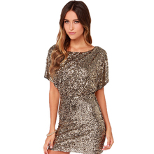 Vestidos summer women dress casual Sequin dress open back short sleeve plus size gold dress sexy bodycon dress party night club