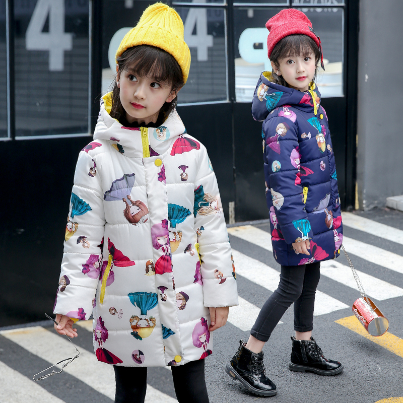 2017 new Winter children Outerwear & Coats Girls Parkas Hooded Baby Girl jacket Warm little girl print Children coat children winter coats jacket baby boys warm outerwear thickening outdoors kids snow proof coat parkas cotton padded clothes