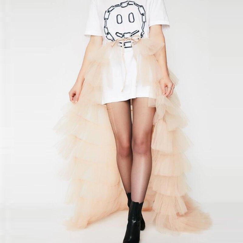 Trendy szampana falbany tiul spódnice wiązane Sash Bow wielowarstwowe długie Tulle spódnica kobiety dla nowożeńców trenuj ponad spódnica Faldas Mujer Moda w Spódnice od Odzież damska na  Grupa 3