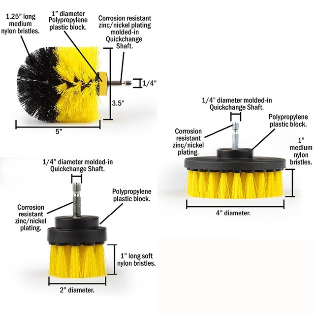 Power Scrubber Brush Set for Bathroom | Drill Scrubber Brush for Cleaning Cordless Drill Attachment Kit Power Scrub Brush 4
