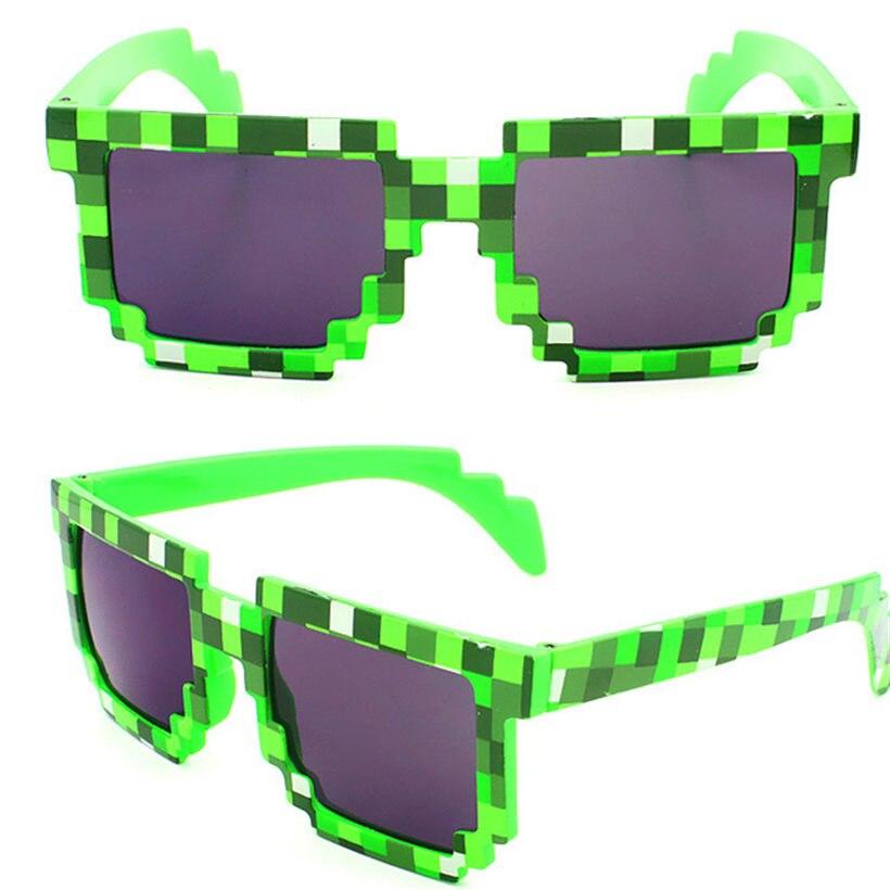 Minecraft Gafas Thug Life Pixel Mujeres Hombres Gafas de Sol Negro Gafas de Sol Del Mosaico