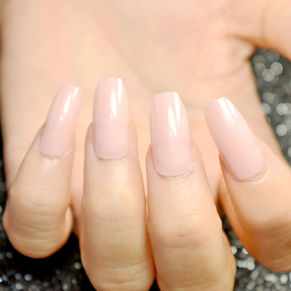 Aliexpress.com : Buy 24pcs nude pink pure color Coffin Nails False ...