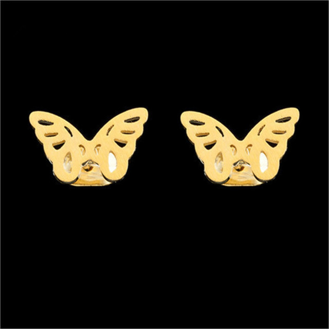 Dainty Lovely Butterfly Pendant Necklace & Stud Earrings For Women Girl Trendy Jewelry Set Gold Silver Stainless Steel Schmuck 2