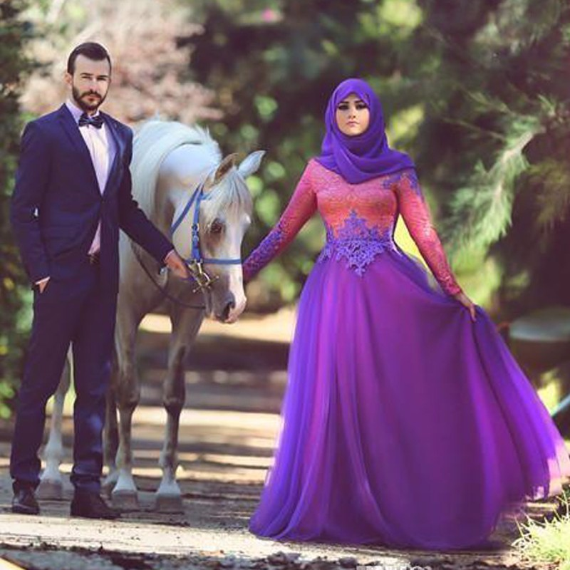 Robe De Soiree 2017 Long Sleeves Arabic Muslim Lace Evening dresses A Line Abaya in Dubai