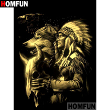 HOMFUN 5D DIY Diamond Painting Full Square/Round Drill Indian wolf Embroidery Cross Stitch gift Home Decor Gift A09279 homfun 5d diy diamond painting full square round drill indian wolf embroidery cross stitch gift home decor gift a09279