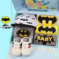 Bébé Cadeaux Avancée Batman barboteuse de bébé costume Pantalon Chapeaux Chaussures Couvertures Cadeau Boîtes Cadeaux de Naissance de Bébé Bébé vêtements Ensemble