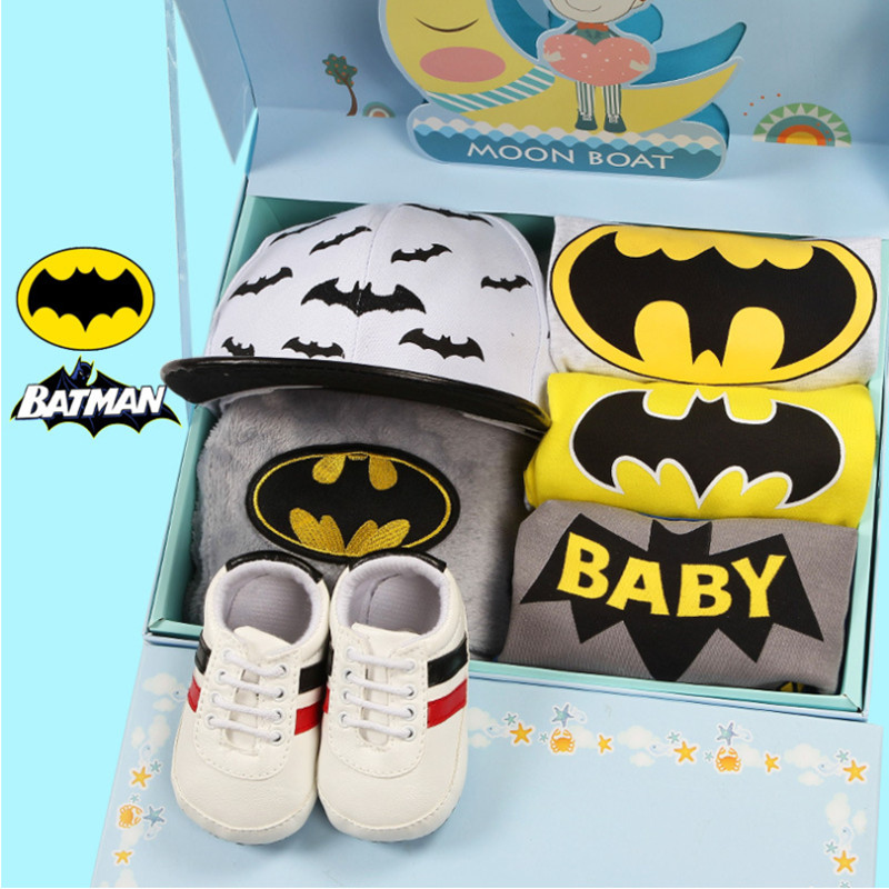 Baby Gifts Advanced Batman baby romper suit Pants Hats Shoes Blankets Gift Boxes Baby Birth Gifts Baby clothing Set
