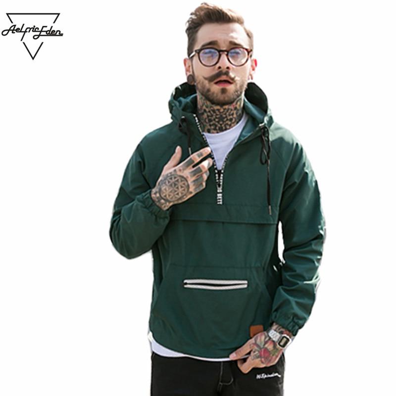 AELFRIC 2018 Для мужчин модная куртка с капюшоном уличная ветровка с капюшоном хип-хоп весенняя куртка Повседневное Active тонкий пальто YE12