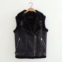 2018 Women Vests Winter Black Faux Fur Collar Vest Female Slim Sleeveless Jacket Suede Leather Zipper Windproof Warm Waistcoat