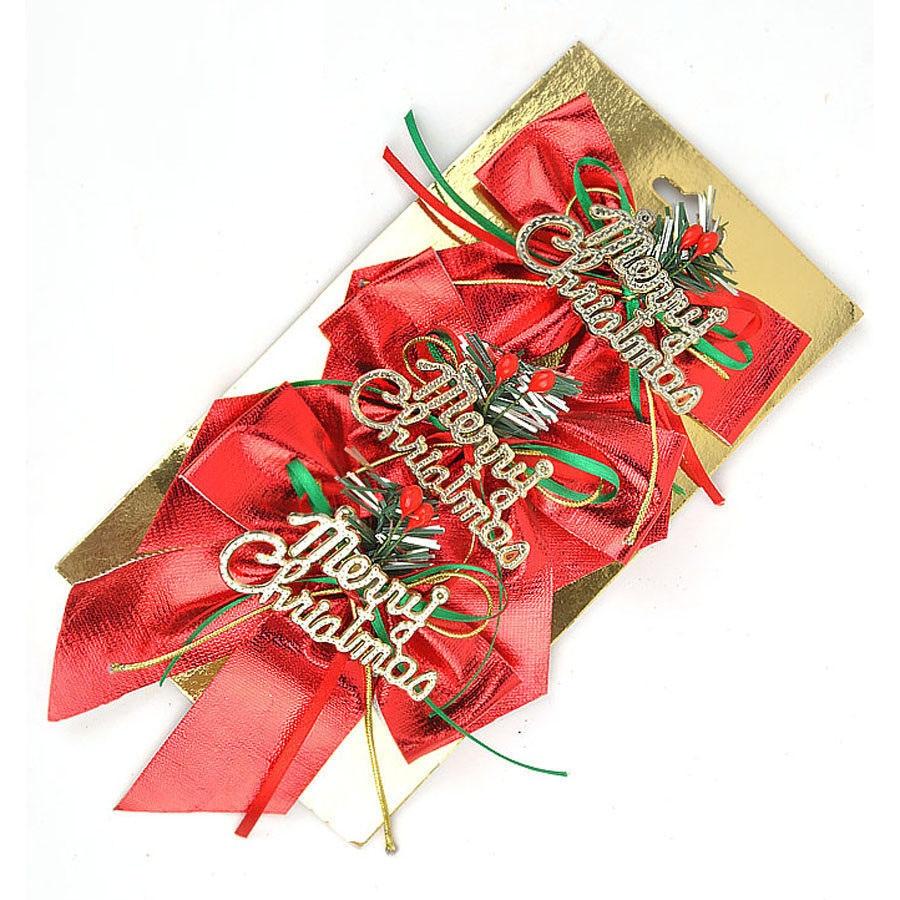 Wonderful Diy Ribbon Beads Christmas Tree: Creative 3PCS Christmas Ribbon Red Bow Bead Decoration