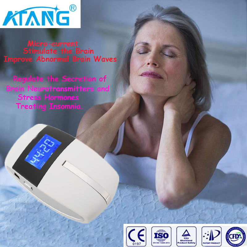 ATANG 2018 New Anxiety Relief Alpha-Stim Electronic Acupuncture Apparatus Sleeping Aid Device CES Anti Depressed Insomnia insomnia treatment ces therapy electro acupuncture device