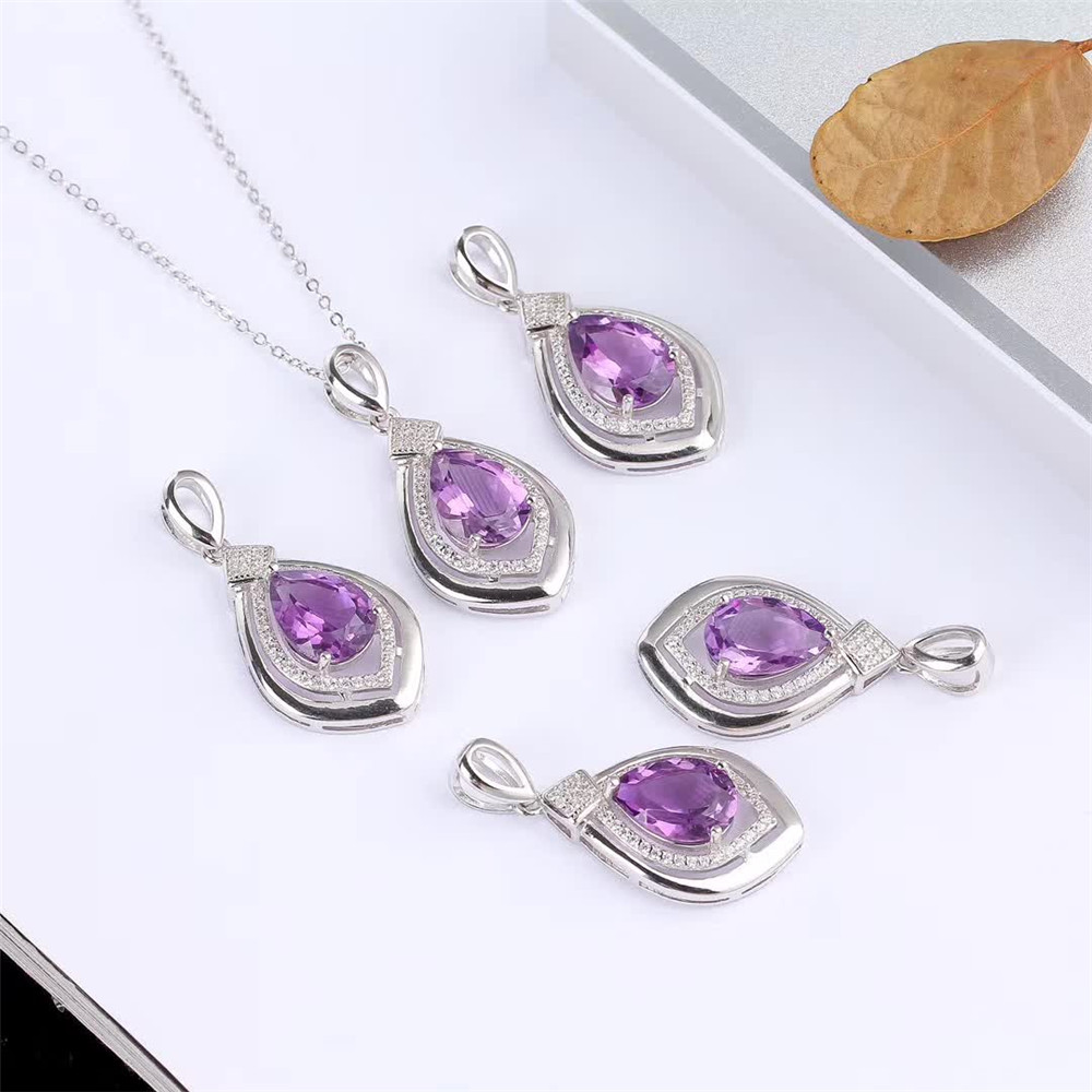 wholesale luxury trendy 925 sterling silver Amethyst natural gemstone pendant necklace for wedding engagement in Necklaces from Jewelry Accessories