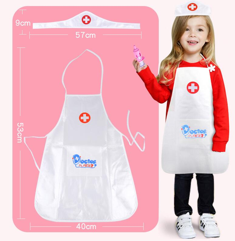 A Set Nurse Doctor Cosplay Suit Cloths Cap For Kids Play House School Activities Suits Christmas Gift Toys