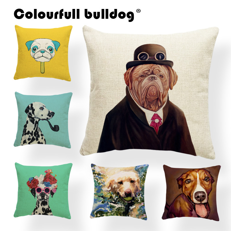 Dachshund By Bike Pillow Cases Flowers Pipe Sunglasses Cushion Covers Flamingo Hats Shar Pei Throw Pillow Living Room Decoration