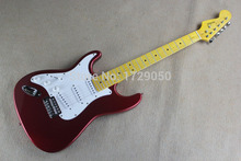 Chinese Factory musical Instruments Custom 2015 NEW ST left hand Electric Guitar Metal red color White Pickguard 725