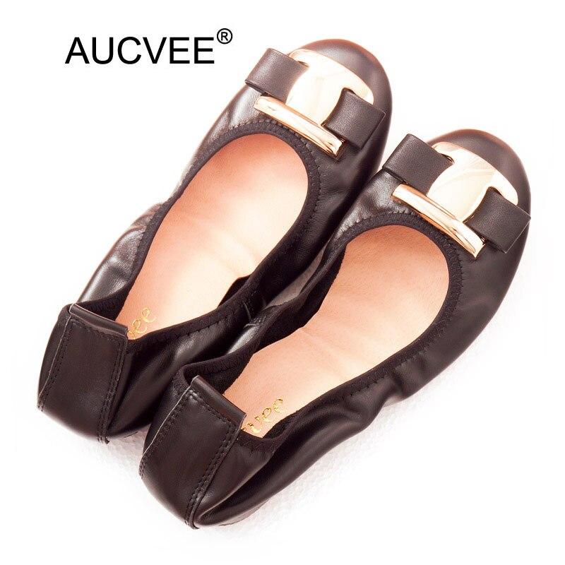 Nouveau coréen sans lacet Balerinas chaussures pour femmes doux arc en métal dames plat en cuir véritable chaussures mocassins chaussures femmes ballerine