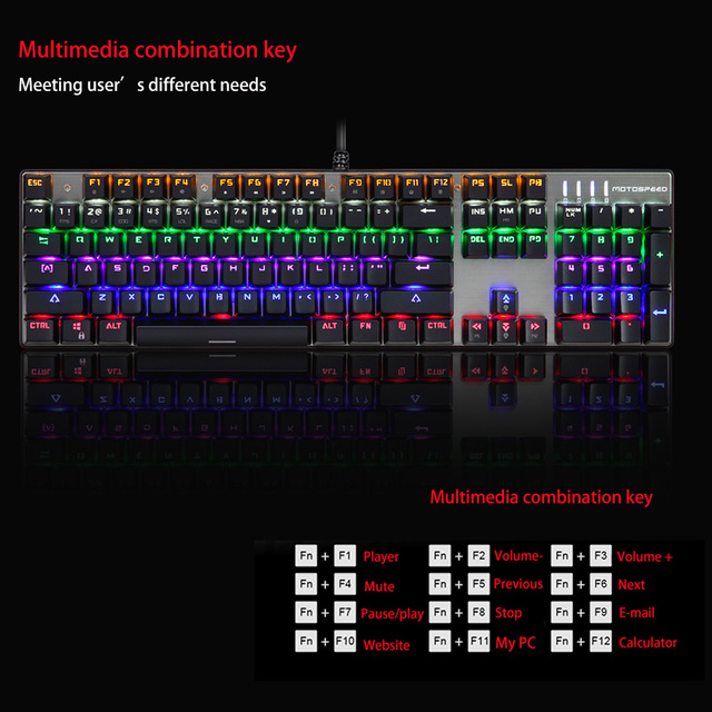 MOTOSPEED Professional USB Wired Esport Mechanical Gaming Keyboard and Mouse LED Backlit Blue Switches for Pro Gamer Dota LOL PC