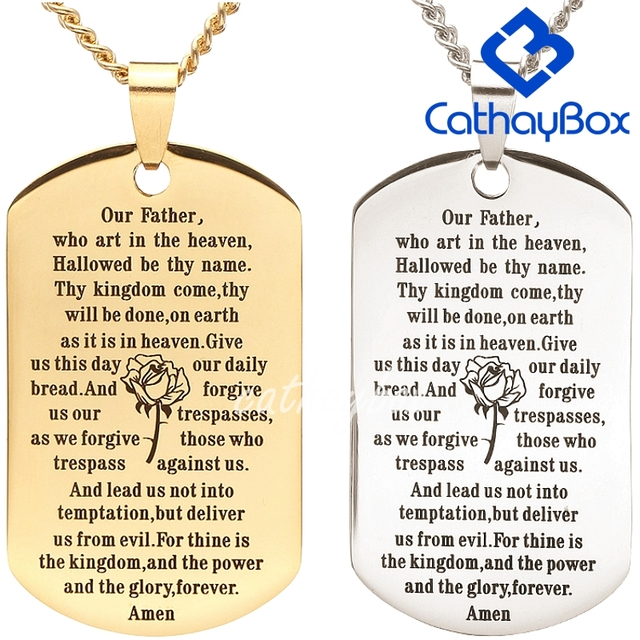gold silver tone stainless steel english our father lord s prayer