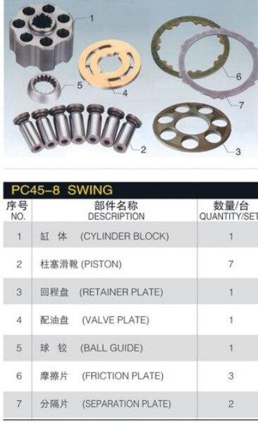 Набор для ремонта KOMATSU PC45R 8 роторный двигатель запасные части блока цилиндров пластина клапана поршень аксессуары для обуви