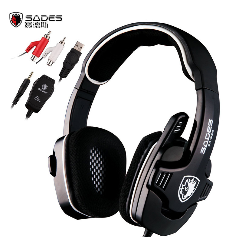 Sades SA-922 3 in 1 Professional Gaming Headset 7.1 Stereo Sound USB Headphones Microphone for PS3/XBOX/PC Fone Gamer Earphone 3 in 1 sades sa922 pro gaming headset 7 1 surround sound stereo headphones earphones casque with mic for xbox 360 ps3 pc gamer