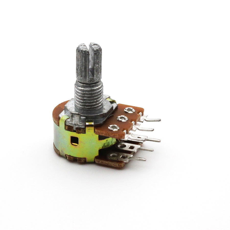 WH148 Dual Stereo Potentiometer Pot B10K 50K <font><b>Ohm</b></font> R Linear welle 15mm 15 welle = 15 6Pin Welle WH148 Verstärker image