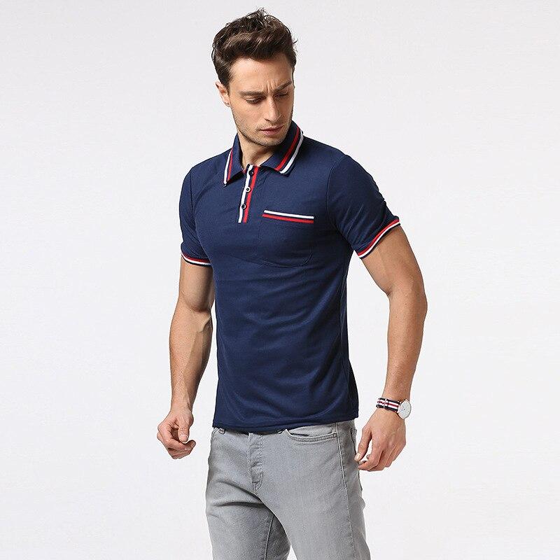Summer 2017 Brand Men's Short Sleeve POLO Shirt British Style Stripe Collar Pocket Slim Fit Polo Shirt Men Casual polo Tee