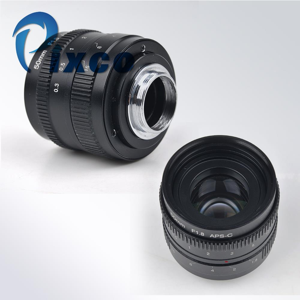 Black 50mm f/1.8 mirrorless C-mount  APS-C Television TV Lens /CCTV/ Lens Suit For C Mount Camera  OM-D E-M10 II GX7 GF6 GH3