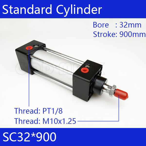 SC32*900 Free shipping Standard air cylinders valve 32mm bore 900mm stroke SC32-900 single rod double acting pneumatic cylinder free shipping sc 32mm bore 75mm stroke double acting single thread rod standard pneumatic air cylinder sc32 75