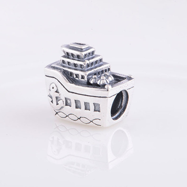 68a20a8b1 Fits Pandora Charms Bracelet 925 Sterling Silver Ship Cruise Boat Charm  Beads DIY Bracelet Jewelry Making