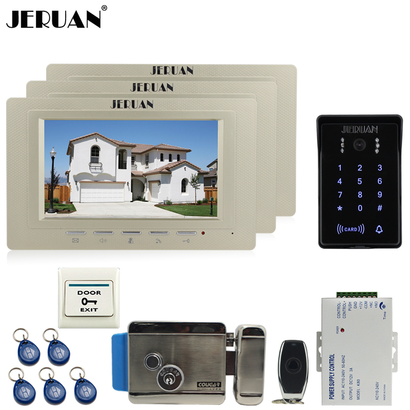 JERUAN 7`` TFT video doorphone intercom system Kit RFID waterproof touch key password keypad camera+remote control open the door rfid keyboard ip65 waterproof video doorphone intercom system for 3 apartments with 7 color lcd video intercom system in stock