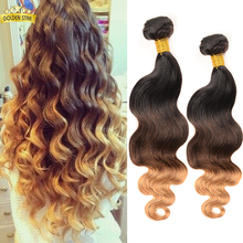 King Hair Peruvian Body Wave Ombre Peruvian Hair 5pcs Remy Hair Bundles 1b/4/27 Ombre Hair Extensions Xuchang Aliexpress DHL