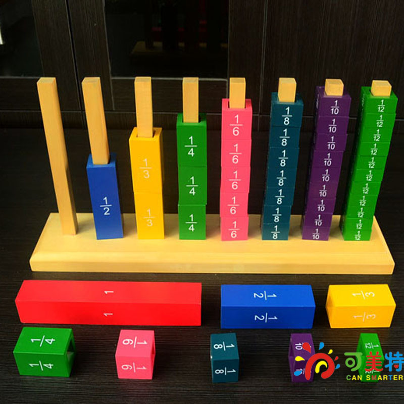 Montessori Materials Education Fraction Shelf Professional Pack  Beech Wood  Math toys Early educational toys defenders by matt fraction volume 2