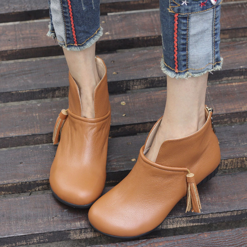Фотография Shoes Woman Boots Round Toe Zip Slip on Chelsea Boots Genuine Leather Ladies Ankle Boots Female Fringe Shoes (5815-2)
