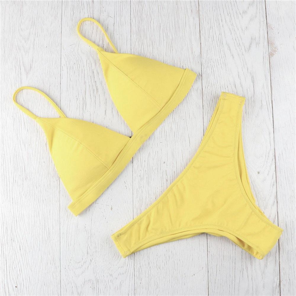 Sexy Bikinis 2019 Mujer Padded Yellow Micro Bikini Set Candy Color Two Piece Brazilian Swimsuit Bathing Suit Women Swimwear #N