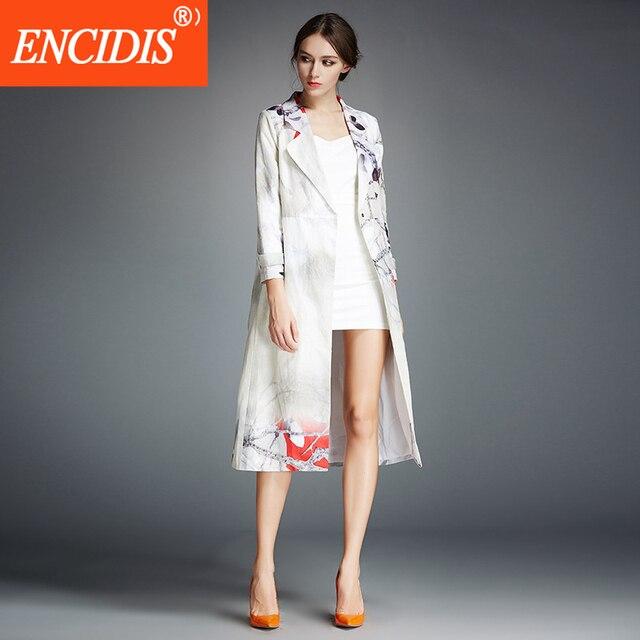 Высокое Качество X-long Trench Coat Женщины Печати Пальто женские Осенние Верхняя Одежда 2016 Новая Мода Белье Женское Пальто F266