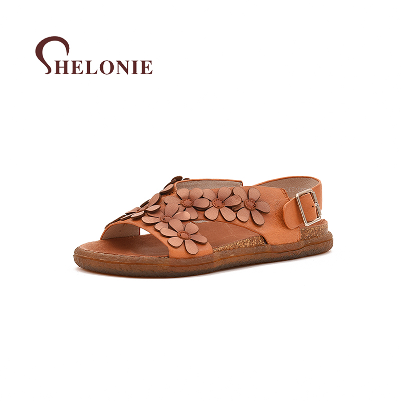 shelonie Genuine Leather Women Shoes Flower Sweet Handmade Casual leather Shoes Soft Casual Women Sandals Shoes 2018 New summer shoes woman handmade genuine leather soft sandals casual comfortable women shoes 2017 new fashion women sandals