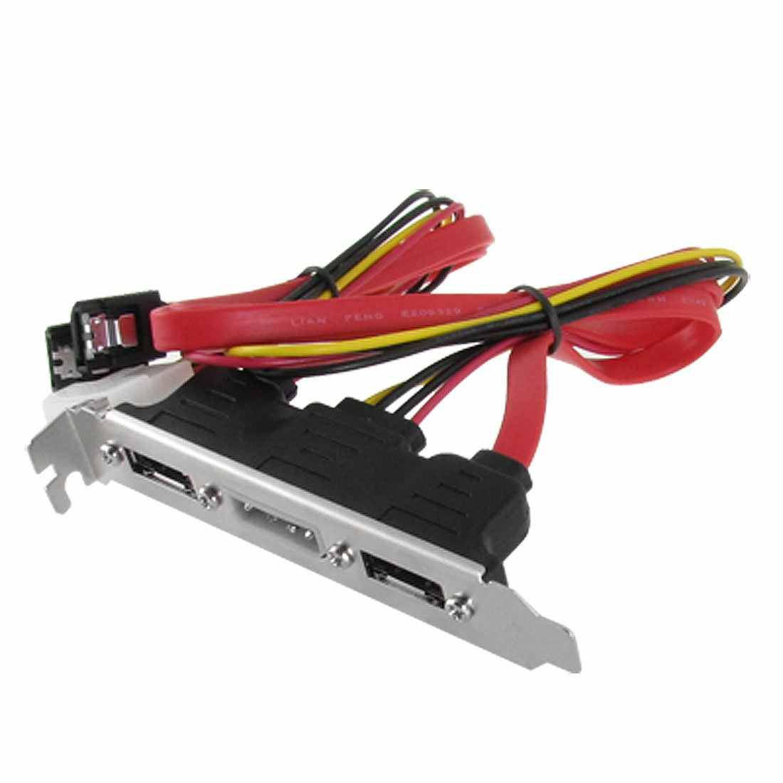 Baru 2-eSATA + 4 Pin Power Bracket Port Ke Perempuan Kabel SATA