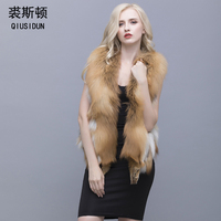 QIUSIDUN Natural Red Fox Fur Vest V Collar 50 Cm Coat Winter Warm Fashion Large Size Woman's Pure Natural Full Pelt Vests Solid