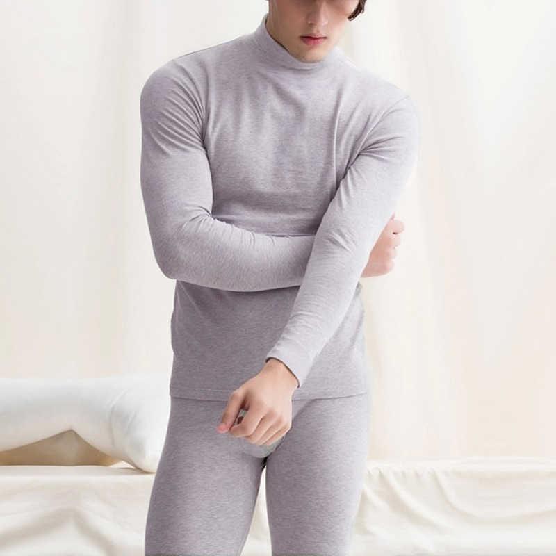 4a200d6fa Oferta nueva ropa interior térmica larga para hombre Otoño Invierno cuello  alto Tops + Pantalones unidades 2 piezas conjunto cálido grueso talla ...