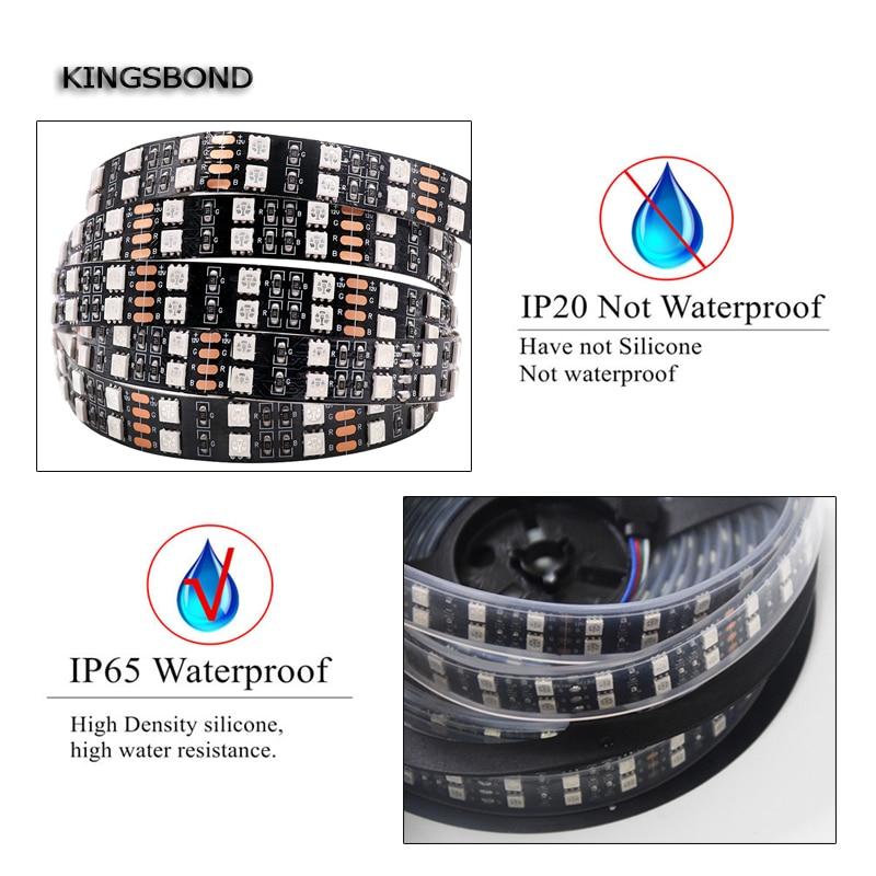 Black PCB 5050 RGB Double Row Led Strip light 120LED/M DC12V IP67 Waterproof Flexible strip 5M/Roll flexible led FPC