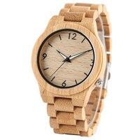 Trendy Handmade Full Bamboo Wood Quartz Modern Wrist Watch Men Fashion Luminous Analog Wooden Bracelet Male Fold Clasp Casual