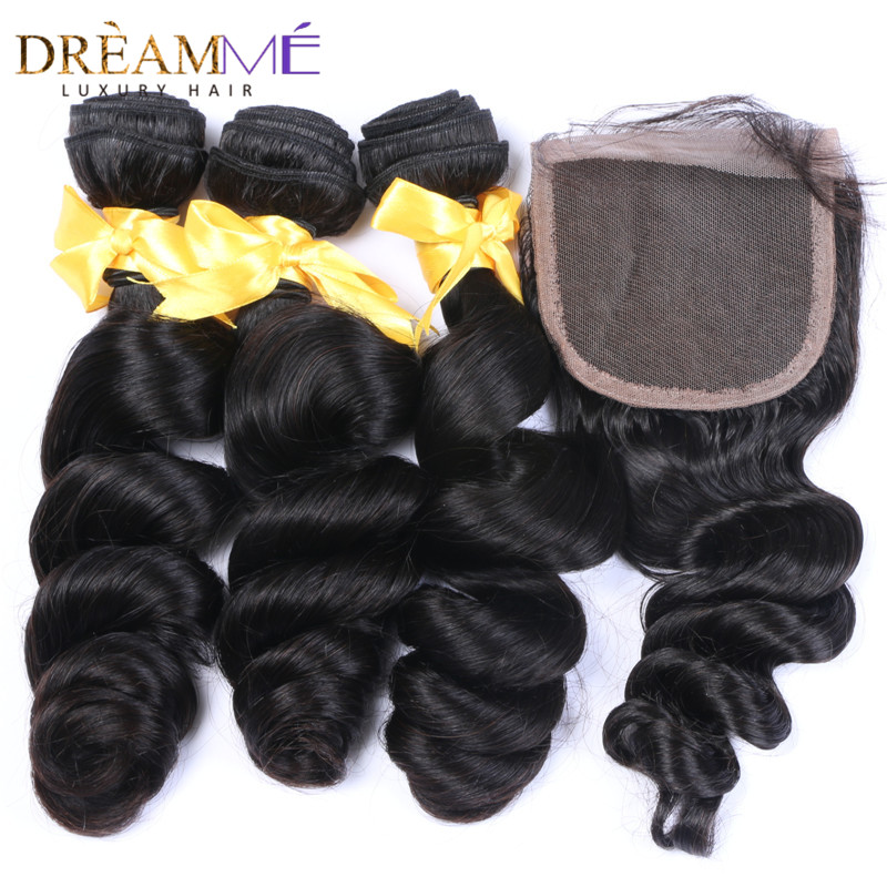 Brazilian Loose Wave Human Hair 3 bundles Weave with 4x4 Lace Closure - Human Hair (For Black)