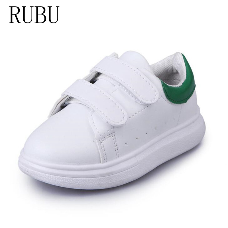 2018 Spring Autumn Size Eur22-34white Color Children's Casual Baby Boys Girls Casual Leather Shoes Students Shoes Kids Br